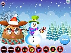 Pou Girl Building A Snowman
